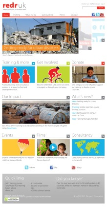 Homepage for disaster relief charity, RedR